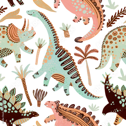Tapety do pokoju chłopca  cute-cartoon-dinosaurs-seamless-pattern-in-scandinavian-style