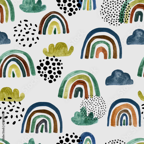 Foto auf Gartenposter Künstlich Abstract watercolor seamless pattern with hand painted rainbows, clouds, doodles