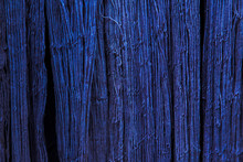 Natural Indigo Dye Cotton Fabric, Cotton Yarn Dyed Blue Nature Color, Traditional Fabrics Of Thailand, Selective Focus