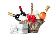 Wicker Basket With Bottles Of ...