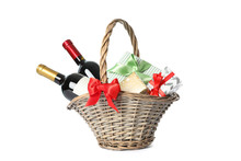 Wicker Basket With Bottles Of ...