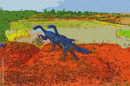 Foto auf Leinwand Ziegel Dinosaur art illustration painting