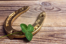 Golden Horseshoes With Clover ...