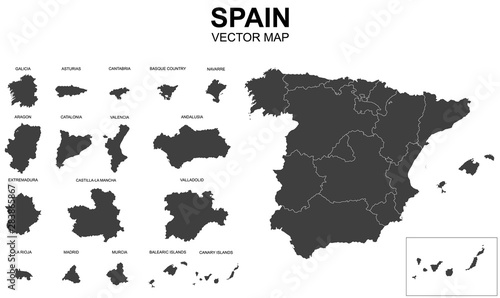 Canvastavla  vector map of spain with borders of regions