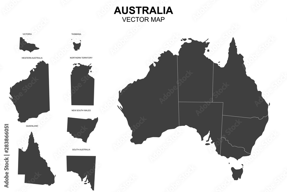 Fototapeta vector map of australia with borders of states