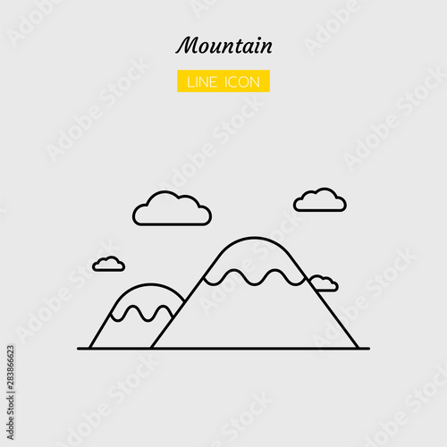 Canvas-taulu line icon symbol, mountain and cloud , hilltop, nature, Isolated flat outline ve