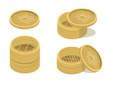 Dim Sum Plate 3d Vector Wood Illustration-01