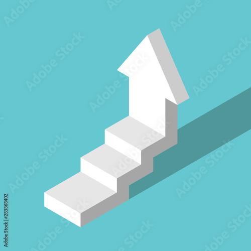 Fotografie, Obraz  Isometric white stepped arrow