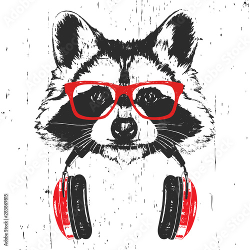 Portrait of Raccoon with glasses and headphones. Hand-drawn illustration. T-shirt design. Vector