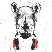 Portrait Of Rhinoceros With Glasses And Headphones. Hand-drawn Illustration. Vector