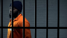 Afro-american Criminal In Jail Cell Serving Sentence, Punishment For Kidnapping