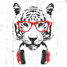 Portrait Of Tiger With Glasses And Headphones. Hand-drawn Illustration. Vector