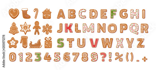 Fotografía  Gingerbread holidays cookies font alphabet vector cartoon illustration
