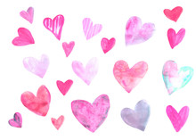 Hand Drawn Watercolor Heart Set. Pink Red Lilac Blue Hearts Collection Isolated On White Background. Romantic Design Element For Wedding Invitation, Valentines Day Card.