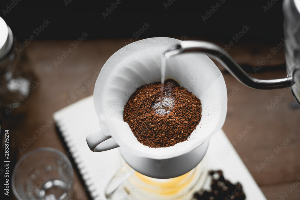 Fototapeta Drip Coffee Black coffee brewed in low light in the house
