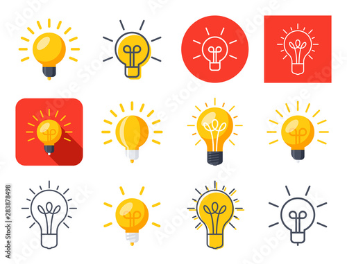 Photo  Light bulb modern stylish icons mix set