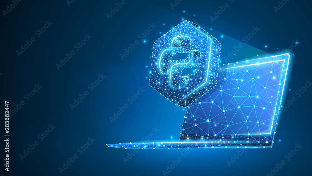 Fototapety, obrazy: Python coding language sign on notebook screen. Device, programming, developing concept. Abstract, digital, wireframe, low poly mesh, Raster blue neon 3d illustration. Triangle, line dot