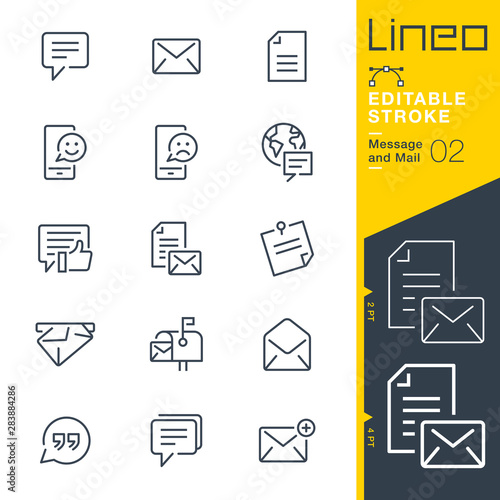 Fotografie, Obraz  Lineo Editable Stroke - Message and Mail line icons
