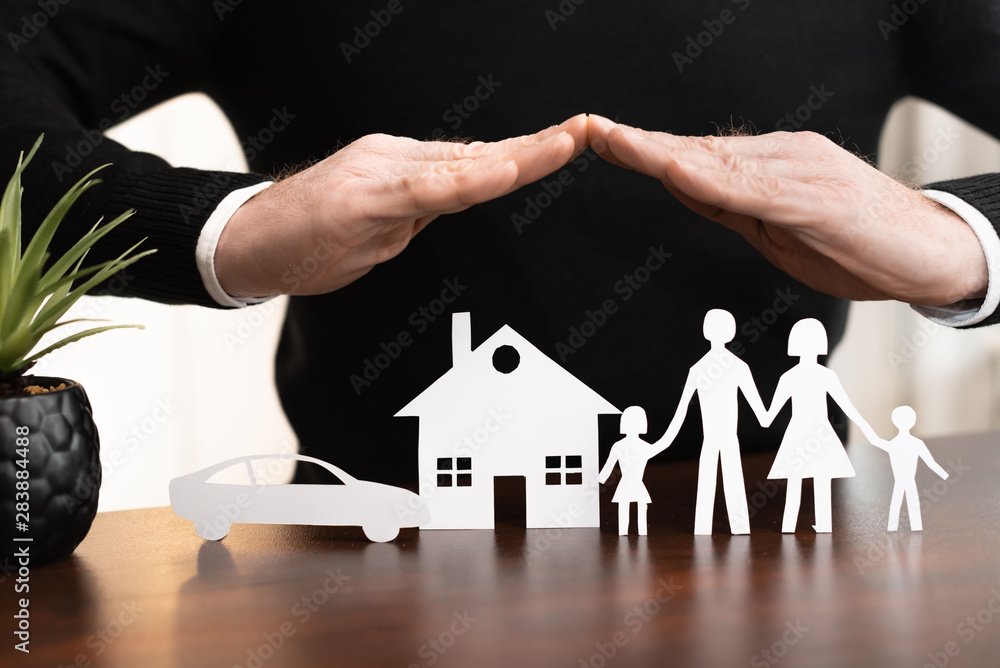 Fototapety, obrazy: Concept of family, home and car insurance