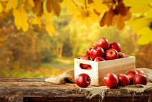 Fresh Red Apples In Wooden Box And Free Space For Your Decoration