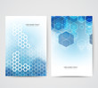 Set of light banners with shadow. Background design of vector blue hexagonal shapes.