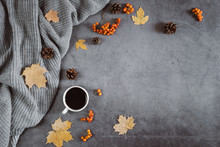 Winter Composition. A Cup Of Coffee, Sweater, Cones, Berry Rowan And Autumn Leaves Maple On Dark Concrete Background. Autumn, Winter Concept. Flat Lay, Top View, Copy Space