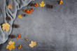 canvas print picture - Autumn composition. Sweater, cones, berry rowan and autumn leaves maple on dark concrete background. Autumn, winter concept. Flat lay, top view, copy space
