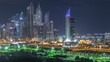 Dubai Marina skyscrapers and golf course night timelapse, Dubai, United Arab Emirates