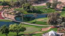 Landscape Of Green Golf Course With Trees Aerial Timelapse. Dubai, UAE