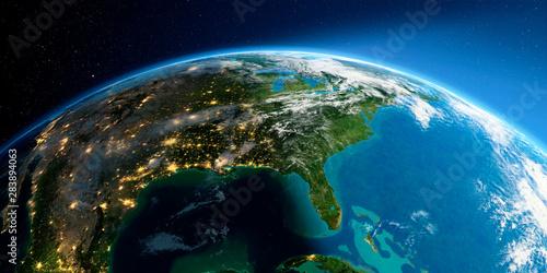 Fotografia  Detailed Earth. North America. Gulf of Mexico and Florida