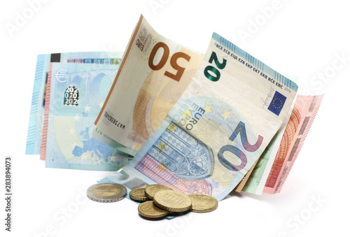 Fotomural Euro banknotes with change, cash money and coins isolated on white background