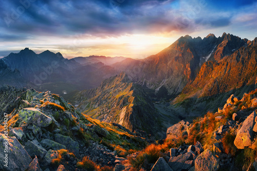 Fototapety, obrazy: Sunrise view in High Tatras mountains national park, Slovakia