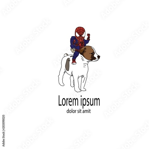 dog and spiderman illustration logo symbol vector Fototapet