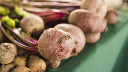 Fotografie, Obraz  Close-up of organic fresh beetroot with leaves
