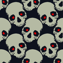 Spooky Skulls With Red Eyes Halloween Seamless Pattern