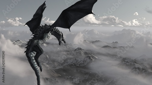 High resolution Ice dragon 3D rendered Tablou Canvas