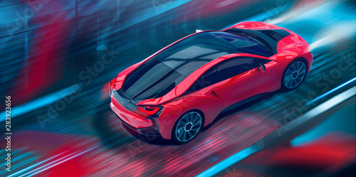 futuristic-high-speed-sports-car-in-motion-3d-illustration