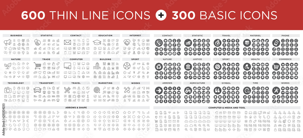 Fototapety, obrazy: MEGA Vector illustration of thin line icons and basic icons for business, banking, contact, social media, technology, seo, logistic, education, sport, medicine, travel, weather, construction, arrow