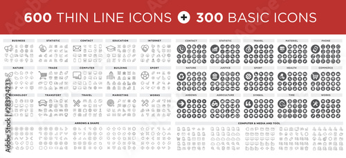 Fotografía  MEGA Vector illustration of thin line icons and basic icons for business, bankin
