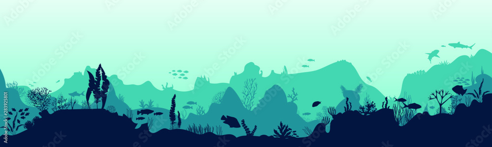 Fototapeta Silhouette of fish and algae on the background of reefs. Underwater ocean scene. Deep blue water, coral reef and underwater plants. a beautiful underwater scene; a vector seascape with reef.