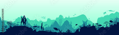 Stampa su Tela Silhouette of fish and algae on the background of reefs
