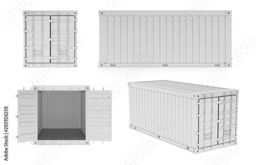 White shipping freight containers. 3d rendering illustration Canvas Print