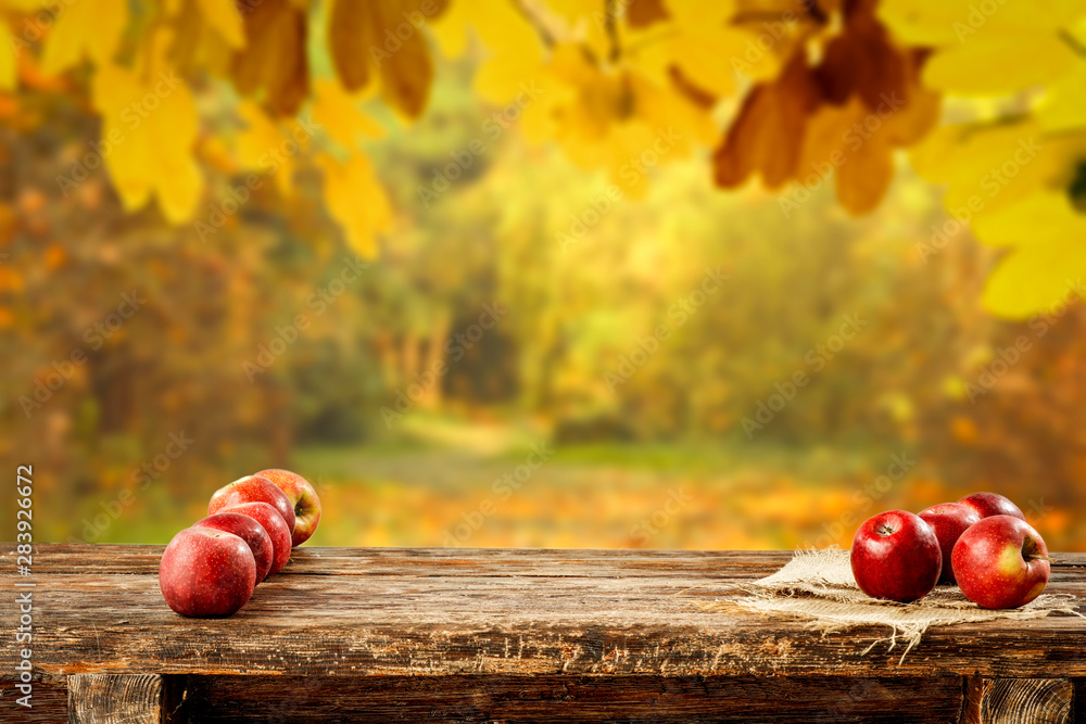 Fototapety, obrazy: Red apples on wooden table top with autumn background. Empty space for decoration and products.