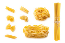 Assortment Of Shapes Of Pasta On White Background Isolated