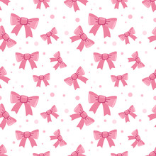 Pink Bows Seamless Vector Pattern
