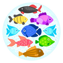 Vector Colorful Cartoon Fish In Circular Shape. Undersea World. Aquarium. Cute Marine Life. Pisces. Brochure, Flyer, Label, Cover, Poster, Banner, Package, Presentation, Print On Clothes, Card. Eps10