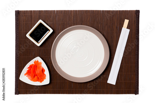 Empty Round White Plate With Chopsticks For Sushi Ginger