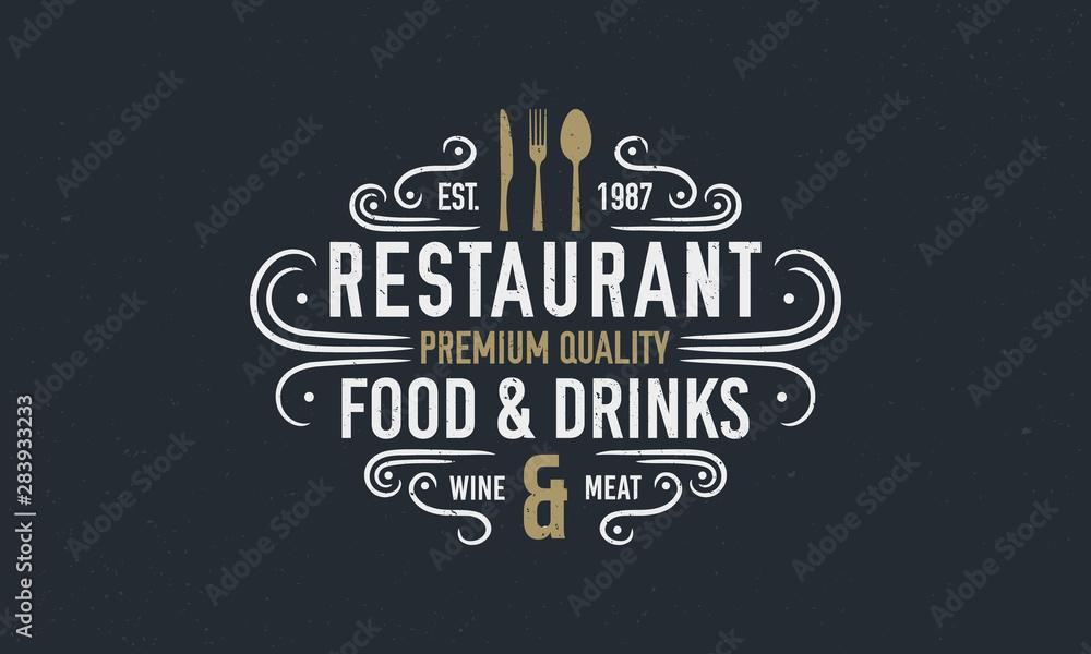 Fototapety, obrazy: Vintage luxury restaurant logo or poster template. Vintage emblem for restaurant. Restaurant menu design. Vector illustration