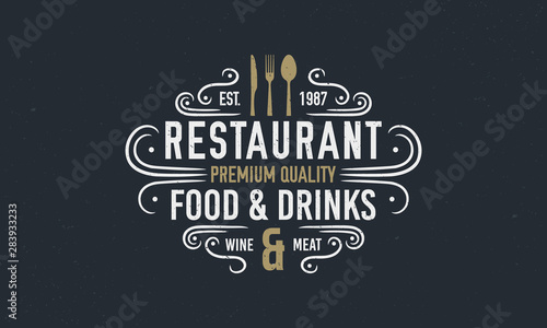Photo  Vintage luxury restaurant logo or poster template