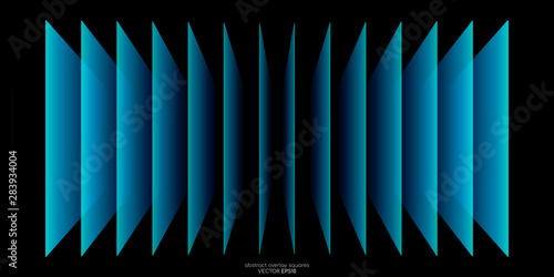 Abstract 3D perspective transparent rectangles overlay pattern by green blue colors on black background Wallpaper Mural